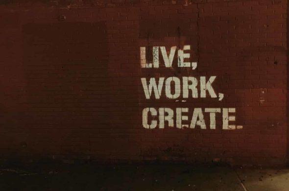 live work create graffiti on wall